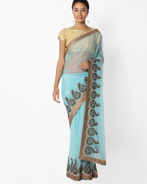 Embellished Saree With Embroidery By Mahotsav ( Blue )