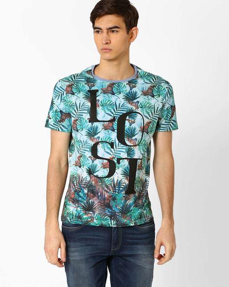 Tropical Print T-shirt By AJIO ( Blue )