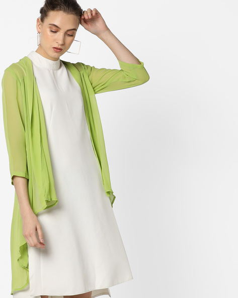 Open-Front Shrug With High-Low Hem By And ( Lime )