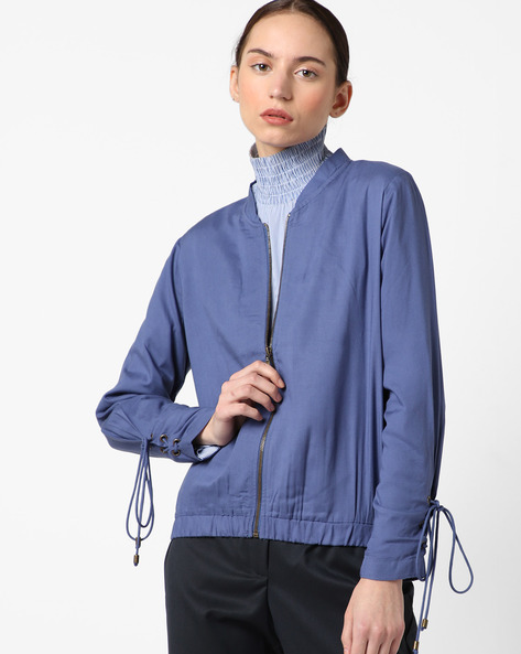 Zip-Front Jacket With Toggle Fastening By AJIO ( Darkblue )