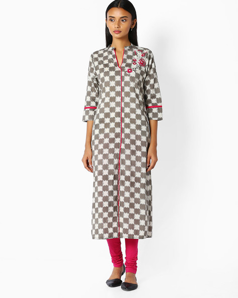 Printed Cotton Straight Kurta By Jaipur Kurti ( Grey ) - 460045478002