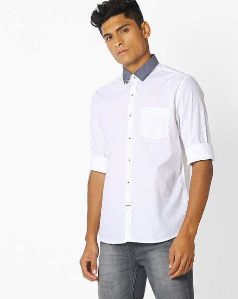 Ditsy Print Shirt With Contrast Collar By NETPLAY ( White )