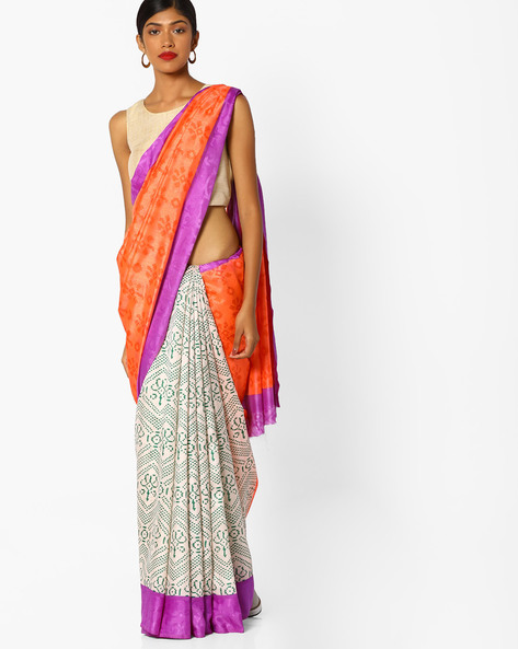 Half-and-Half Style Printed Saree By Runalaila ( Pink )