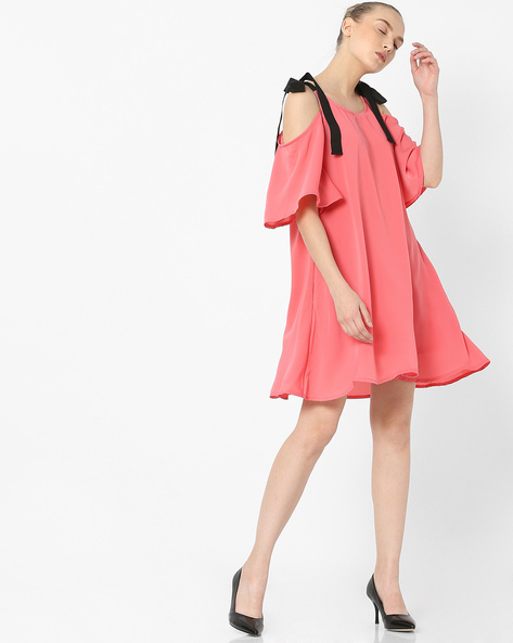 Cold-Shoulder Dress With Tie-Ups By AJIO ( Pink )