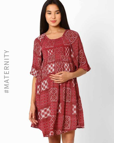 Printed Maternity Shift Dress By Oxolloxo ( Pink )