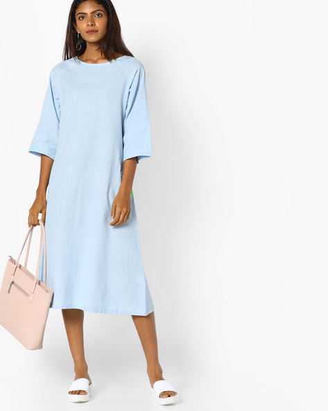 Shift Midi Dress With Raglan Sleeves By AJIO ( Blue )