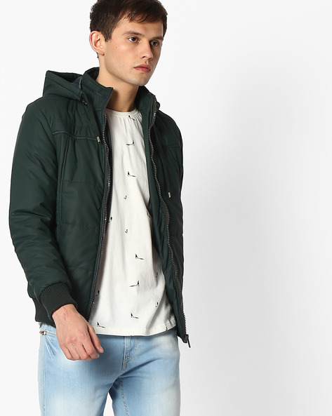 Hooded Quilted Jacket By Fort Collins ( Green )