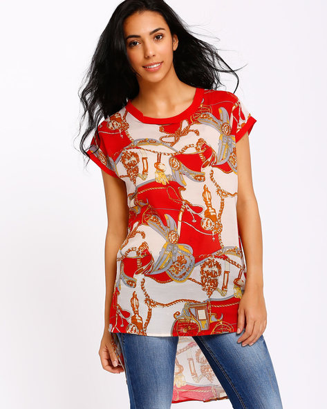 High-Low Hemline Top By Style Quotient By Noi ( Red )