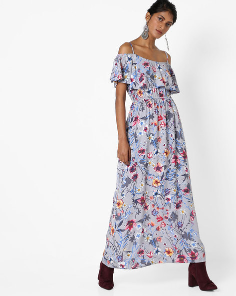 Floral Print Cold-Shoulder Maxi Dress By AJIO ( Grey )
