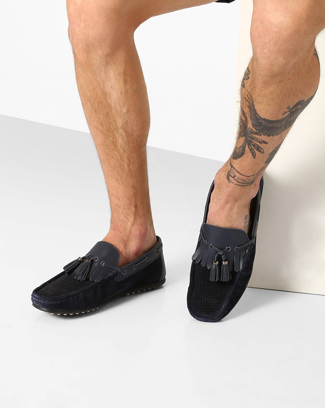 Genuine Leather Boat Shoes With Tassels By Carlton London ( Navy )