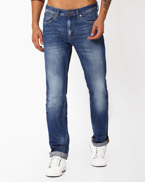 Mid-Washed Jeans With Whiskers By VOI JEANS ( Lightblue )
