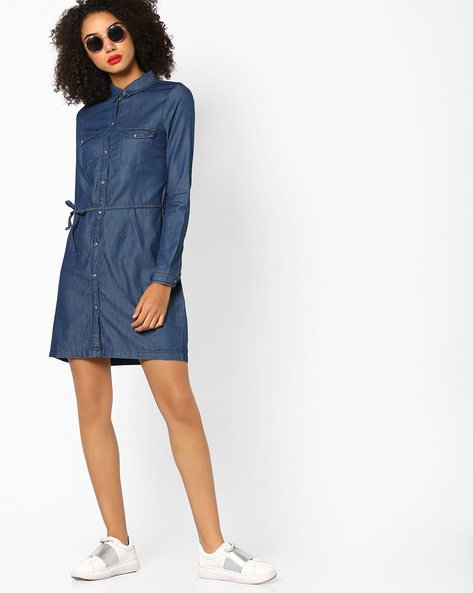 Denim Shirt Dress With Waist Tie-Up By Vero Moda ( Navy )