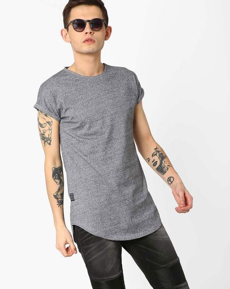 Slim Fit Longline T-shirt With Curved Hem By Blue Saint ( Grey )