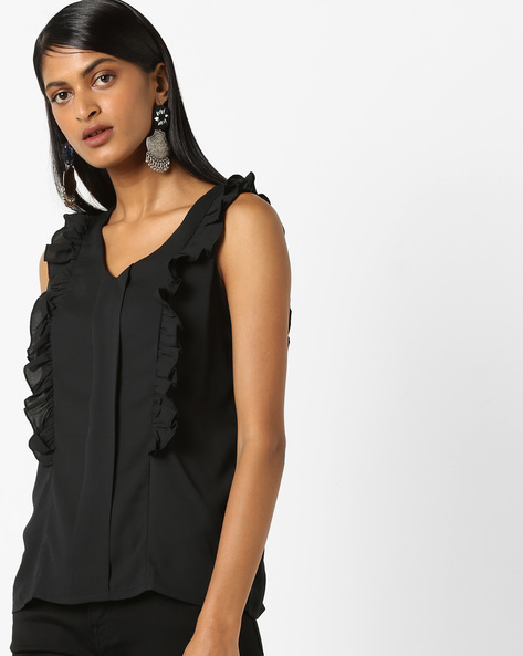 Sleeveless Top With Ruffled Panels By Evah London ( Black )