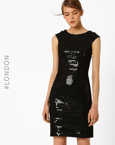 Sequinned Bodycon Dress By Closet London ( Black )