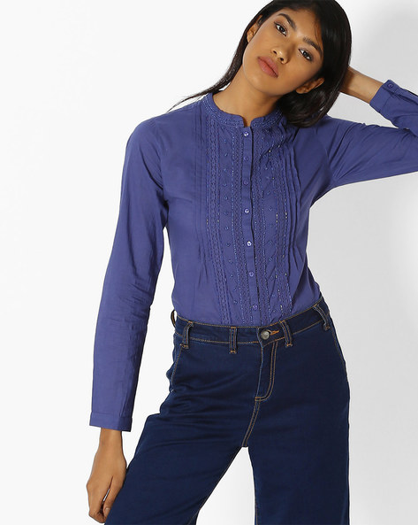 Shirt Top With High-Low Hem By DNMX ( Blue )