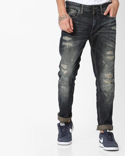 Mid-Wash Distressed Skinny Jeans By VOI JEANS ( Darkblue )