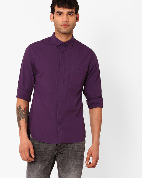 Slim Fit Casual Shirt By Blue Saint ( Purple )