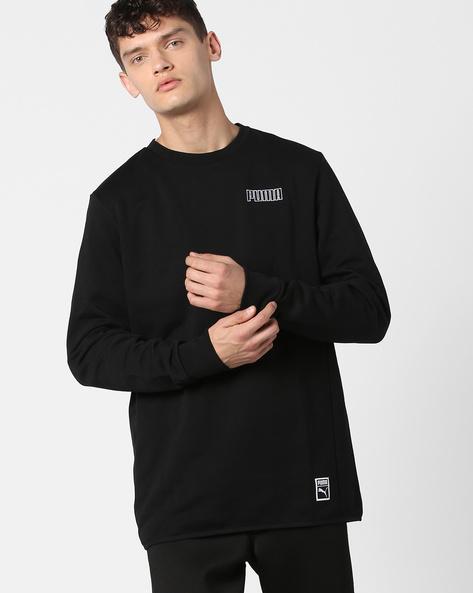 Typographic Print Crew-Neck Sweatshirt By Puma ( Black )
