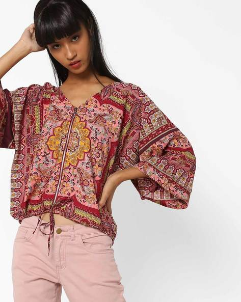 Printed Jacket With Front Zipper By Oxolloxo ( Multicolor )