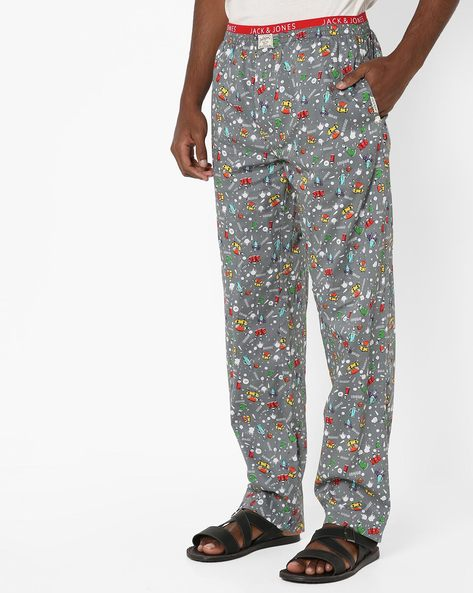 Printed Cotton Pyjamas With Elasticated Waist By Jack & Jones ( Grey )