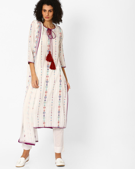 Embroidered Kurta With Pant & Dupatta By Uptowngaleria ( White )