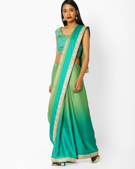 Ombre-Dyed Saree With Embroidered Border By Majestic Silk ( Green )
