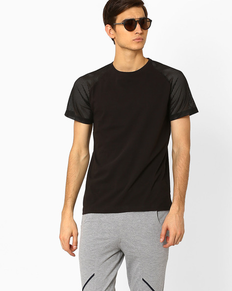 Crew-Neck Slim T-shirt With Raglan Sleeves By Blue Saint ( Black )