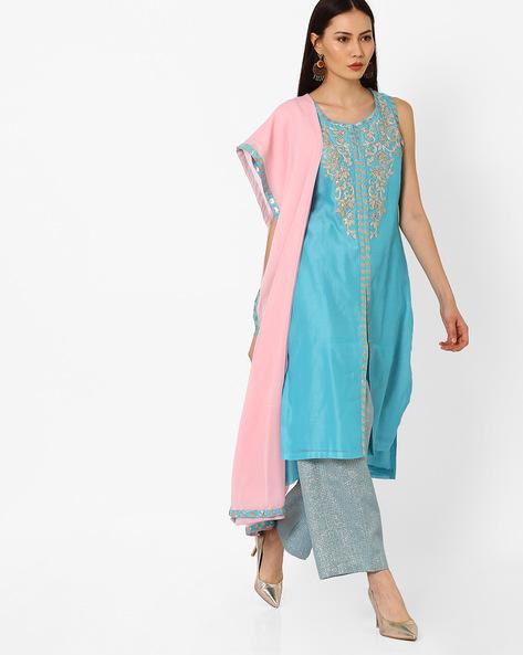 Embellished & Embroidered Kurta Suit Set By Biba ( Turquoise )