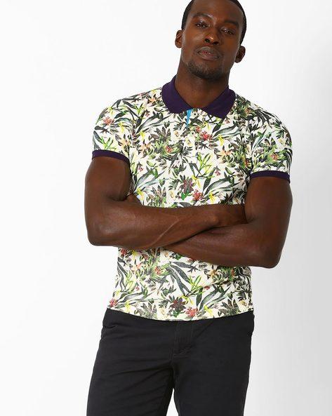 Tropical Print Polo T-shirt By DUKE ( Offwhite )