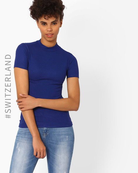 Knitted High-Neck T-shirt By TALLY WEiJL ( Blue )