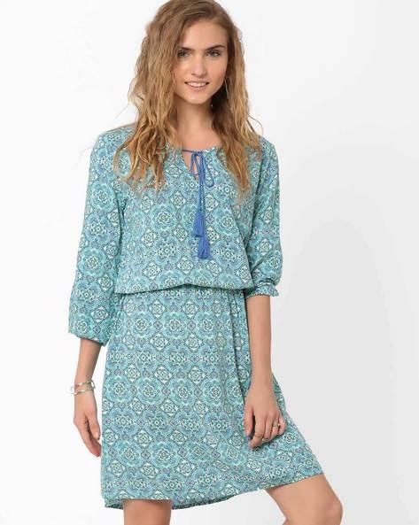 Printed Blouson Dress By AJIO ( Blue )