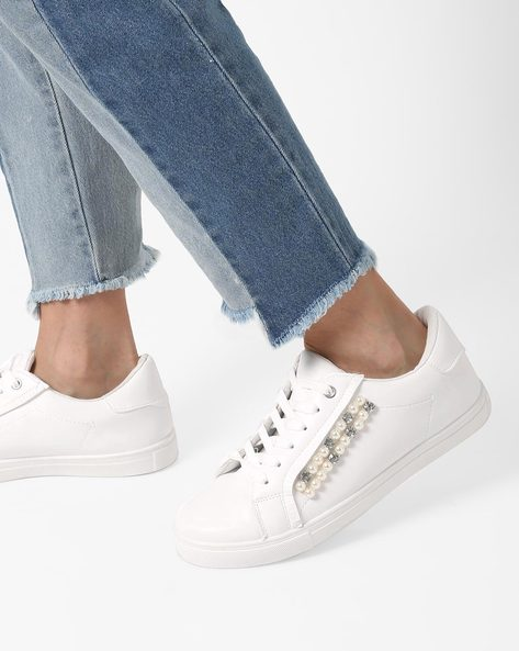 Lace-Up Sneakers With Embellishments By Truffle Collection ( White )