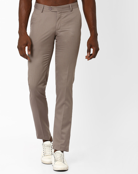 Flat-Front Slim Fit Trousers By VIMAL ( Grey )