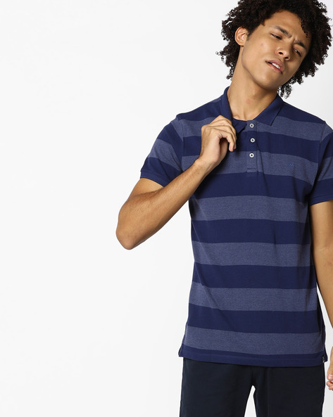 Yarn-Dyed Striped Polo T-shirt By Lee ( Blue )