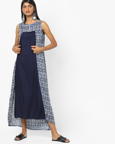 Printed Layered Midi Dress By Desi Fusion ( Navyblue )