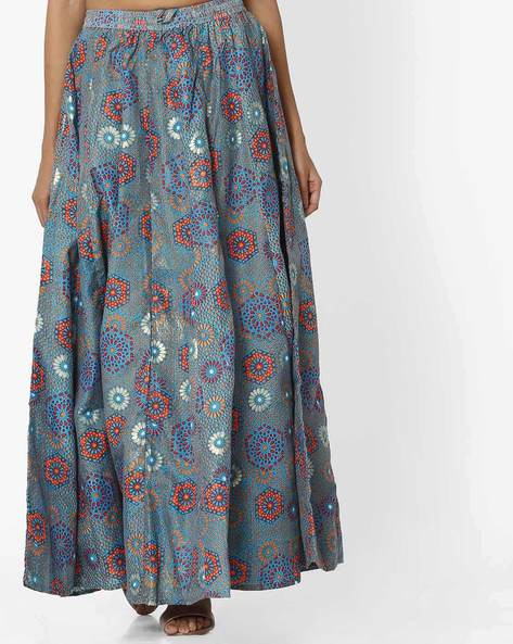 All-Over Floral Print Maxi Skirt By Akkriti By Pantaloons ( Teal )