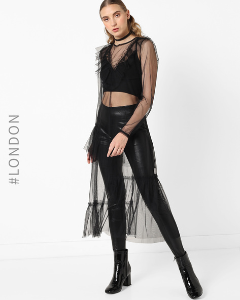 Sheer Midi Dress With Sheer Ruffles By Glamorous ( Black )