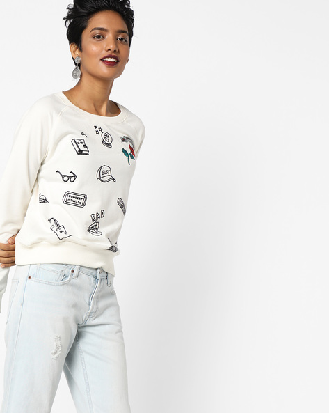 Printed Sweatshirt With Ribbed Hems By DNMX ( White )