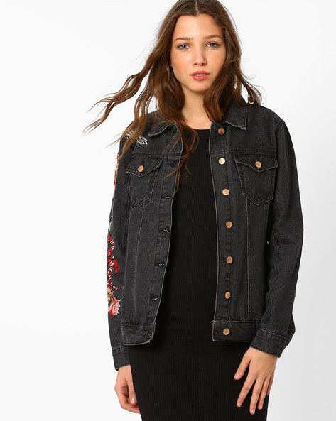 Denim Jacket With Embroidery By Glamorous ( Black )