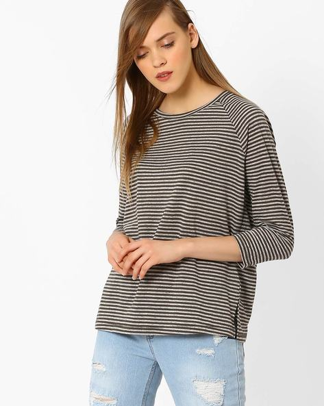 Striped T-shirt With Raglan Sleeves By Marks & Spencer ( Khaki )