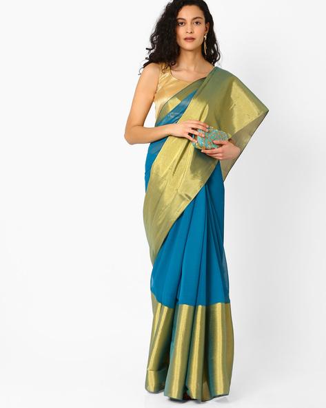Colourblock Saree With Striped Pallu By Pihu ( Turquoise )