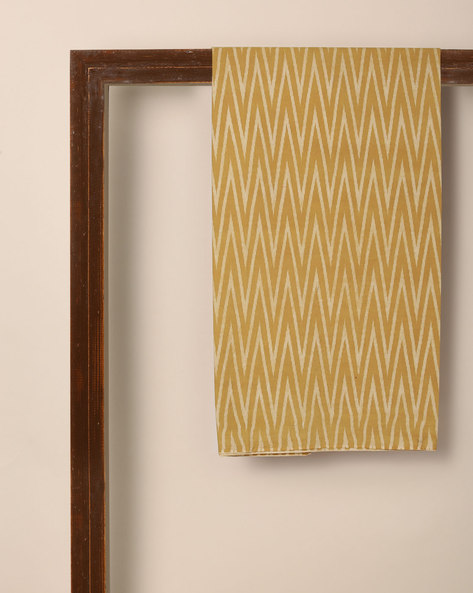 Kalamkari Chevron Print Cotton Kurta Fabric By Indie Picks ( Yellow )