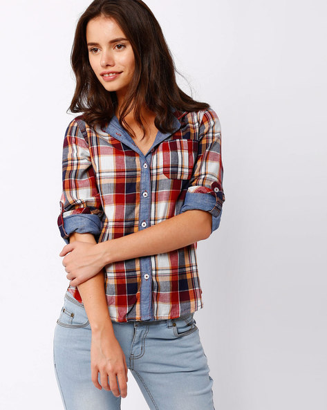 Checked Shirt With Patch Pocket By DNM X ( Red )