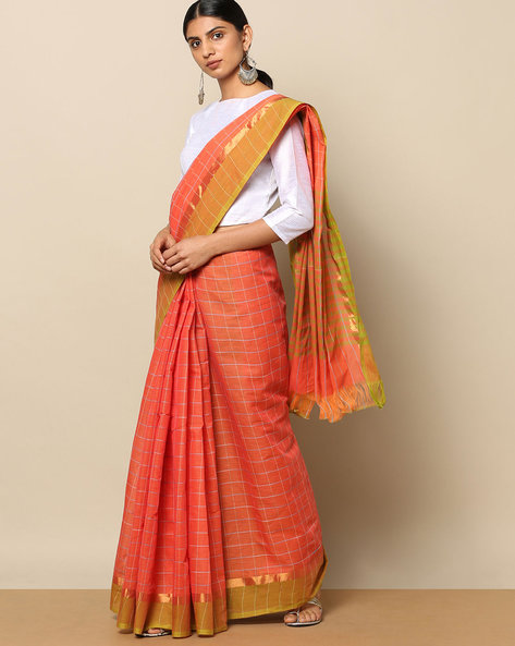 South Cotton Striped Saree With Zari Border By Indie Picks ( Pink )