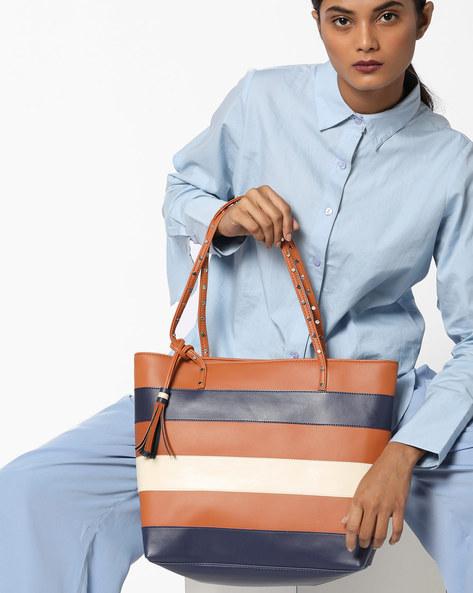 Striped Shoulder Bag By Toteteca ( Tan )