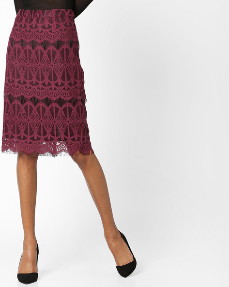 Lace Pencil Skirt By FIG ( Maroonburg )