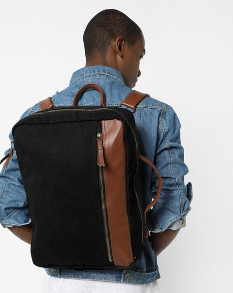 Convertible Backpack With Detachable Straps By AJIO ( Black )