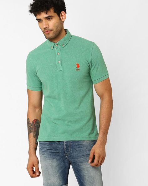 Cotton Slim Fit Polo T-shirt By US POLO ( Green )
