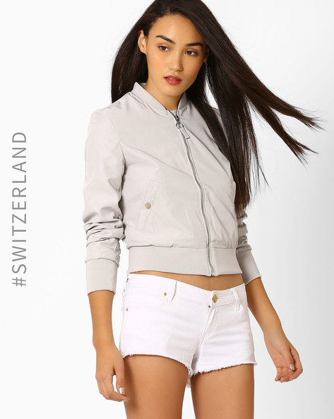 Woven Bomber Jacket With Zipper By TALLY WEiJL ( Grey )